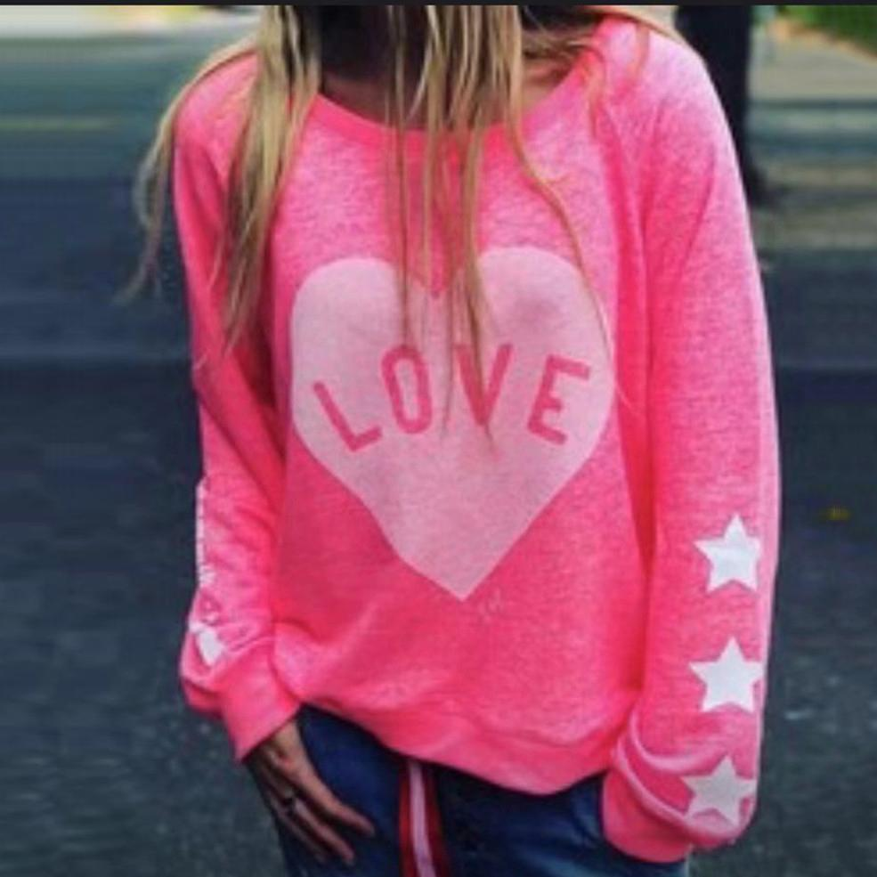 Cute Round Neck Long Sleeve Sweatshirt