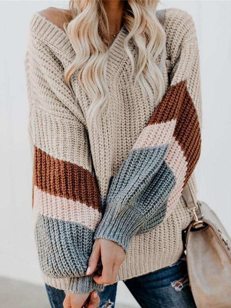 Poptia Lantern Long Sleeve Loose Striped Sweater