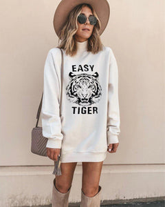 Poptia Letter And Animal Print Long Sleeve Mini Dress