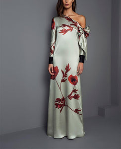 Fashion Long Sleeve Floral Printing Maxi Party Dress
