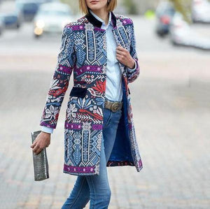 Poptia Arrival Fashion Elegant Slim Floral Long Sleeve Coat