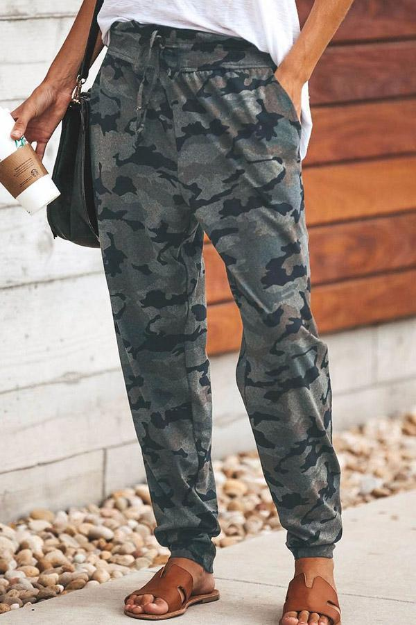 Poptia Long  Camouflage  Casual  Pants
