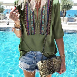 Poptia Bohemian Round Neck Halflong Sleeve Printed Color T-Shirt