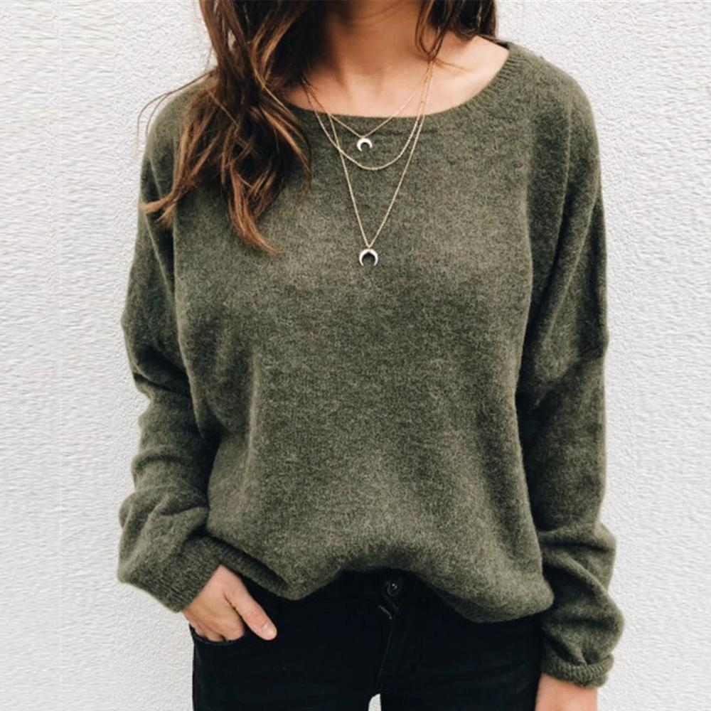 Poptia Casual Plain Long Sleeve Sweater