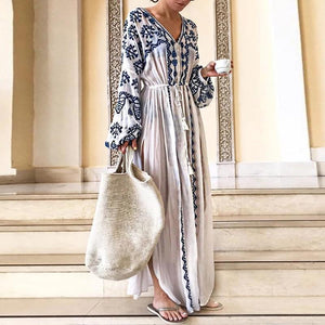 Poptia Bohemian Deep V Printed Long Sleeve Causal Vacation Maxi Dress