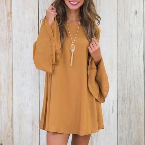 Plain Loose Long Sleeve Mini Dress