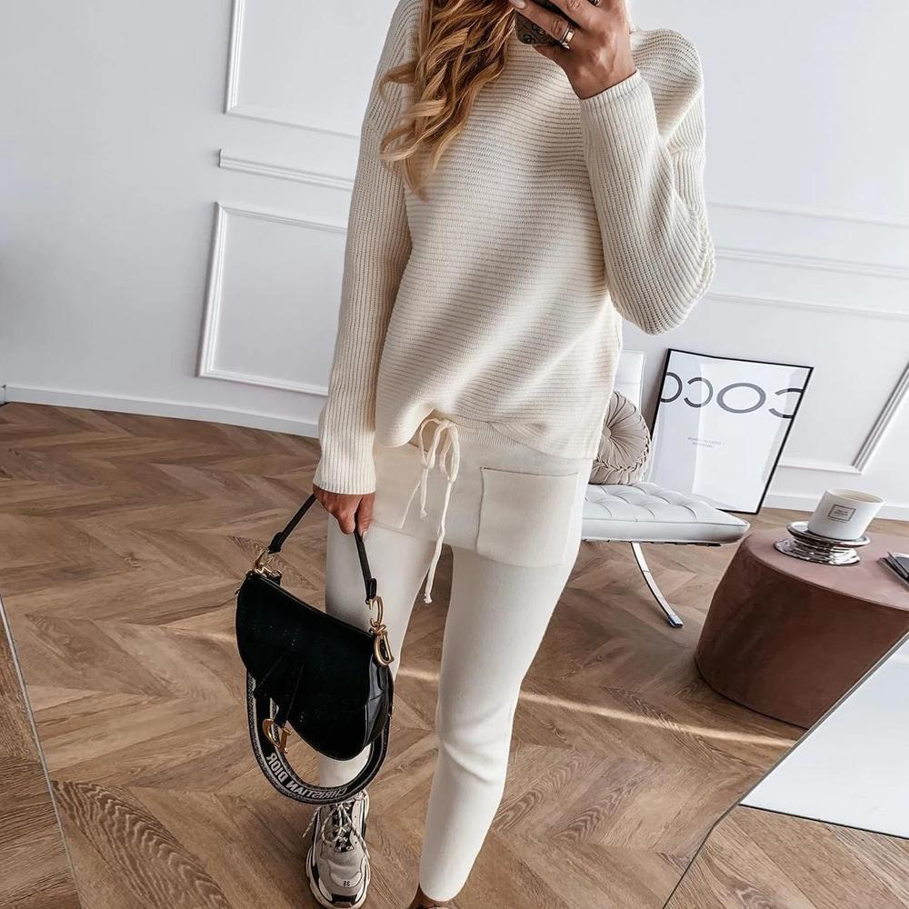 Poptia High Neck Long Sleeve Two-Piece Set