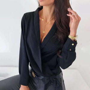 Poptia Sexy V-Neck Long Sleeve Blouse
