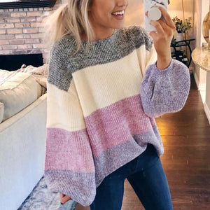 Poptia Striped Patchwork Long Balloon Sleeve Sweater