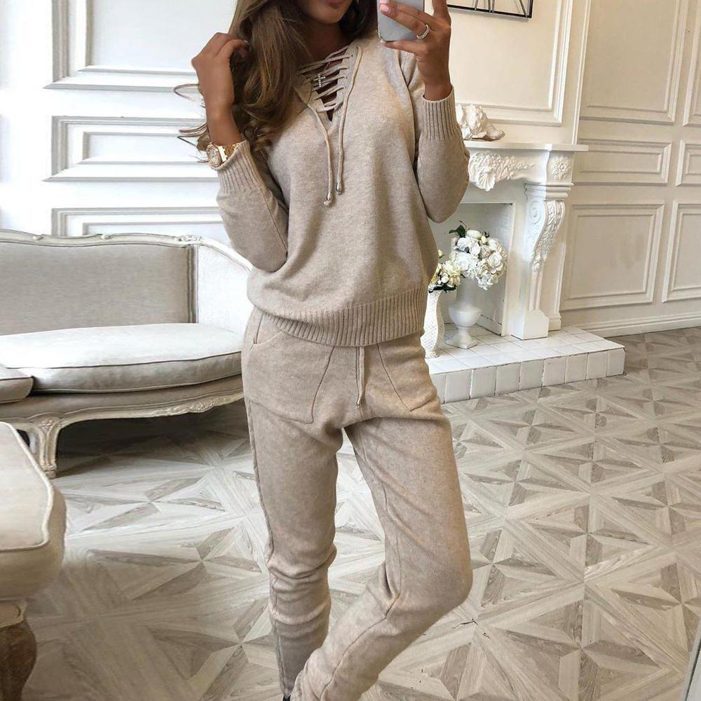Poptia Tied Neck Long Sleeve Sweater Two-Piece Set