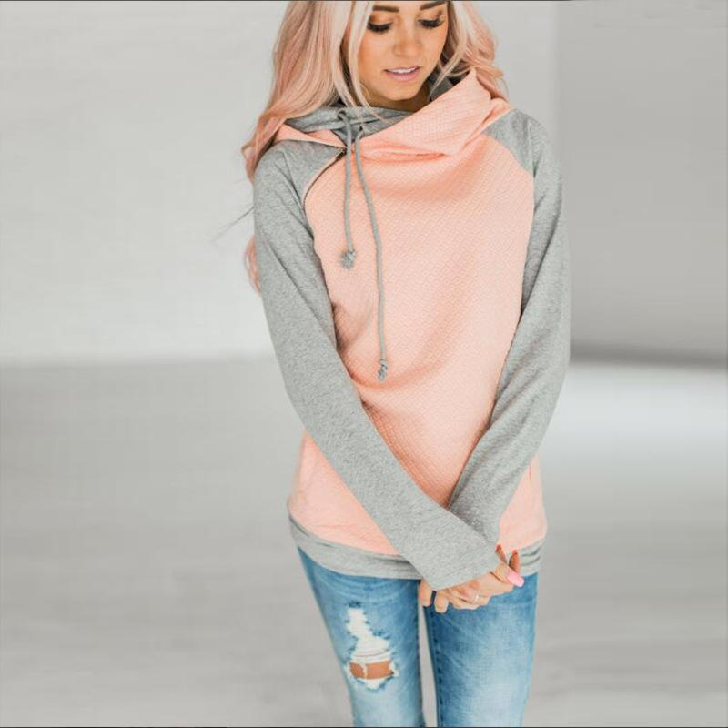 Poptia Color Block Pockets Zipper Hoodie