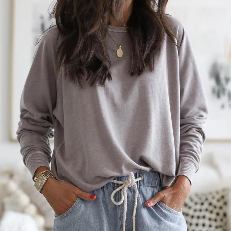 Elegant Round Neck Long Sleeve Solid Color Tee