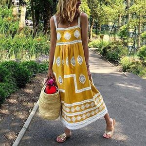 Poptia Bohemian Loose Casual Large Size Dress
