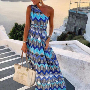Poptia Boho One Shoulder Maxi Dress