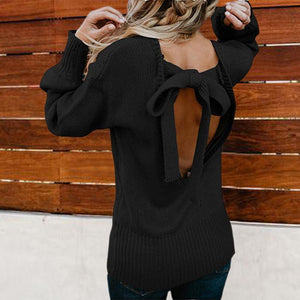 Poptia Open Back Bowknot Long Sleeve Knitted Casual Pullovers