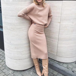 Poptia Elegant Solid Color High Neck Fitted Sweater Two-Piece Dress