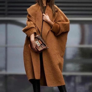 Poptia Loose Solid Color Long Sleeve Wool Coat