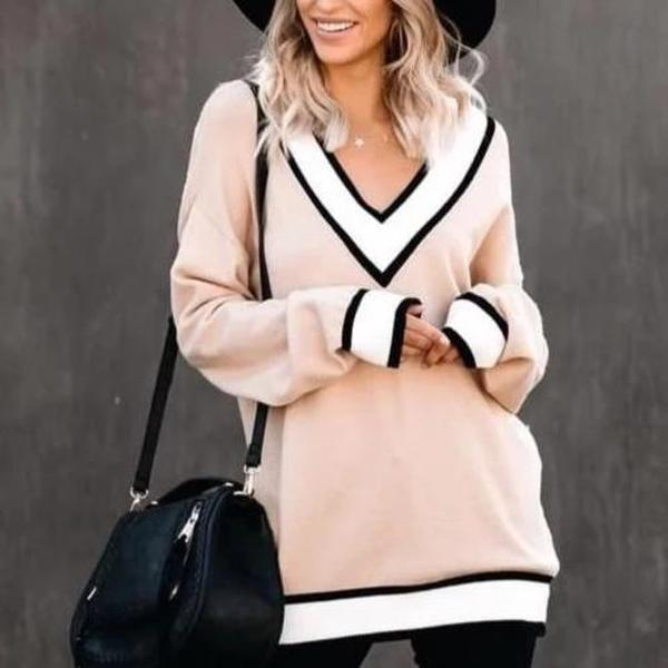 Poptia Preppy Plain V-neck Long Sleeve Sweater