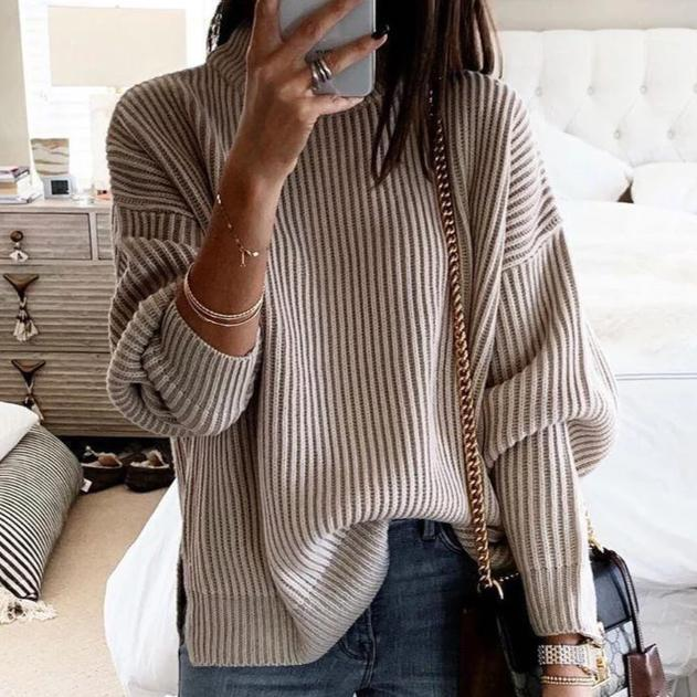 Poptia Long Sleeve High Neck Solid Sweater