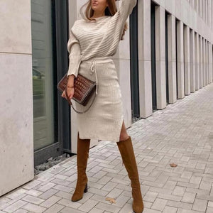 Poptia Chic Round Neck Long Sleeve Two Piece Dress