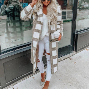 Poptia Plaid Fashion Wool Coat