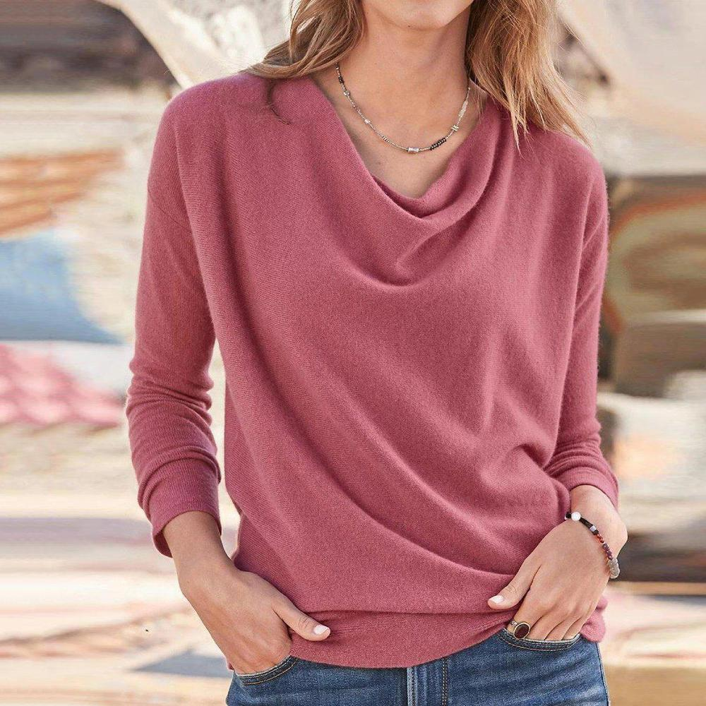 Poptia Casual Plain Long Sleeve Tee Top