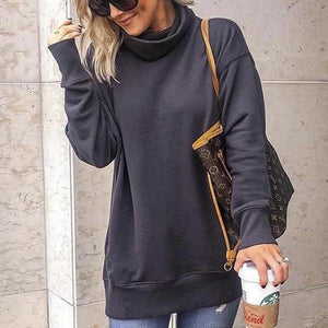 Poptia Loose Long Sleeve High Neck Sweatshirt