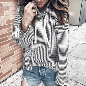 Poptia High Neck Long Sleeve Striped Tee
