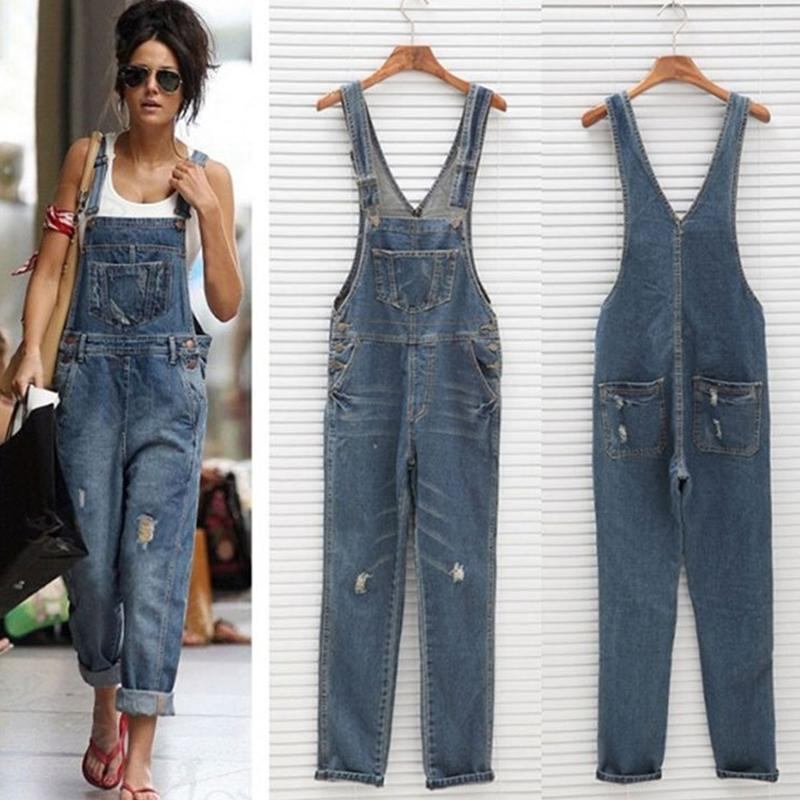 Poptia Fashion Denim Kangaroo Pocket Jumpsuits