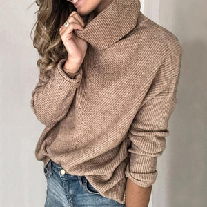 Poptia Brown Turtleneck Loose Sweater