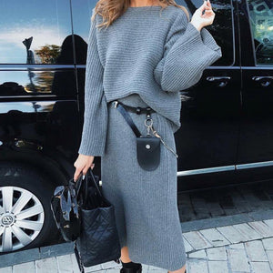Poptia Crew Neck Casual Long Sleeve Two Piece Dress