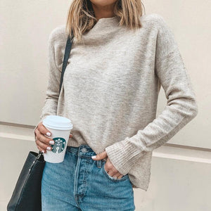 Casual Plain Mock Neck Pullover Sweater