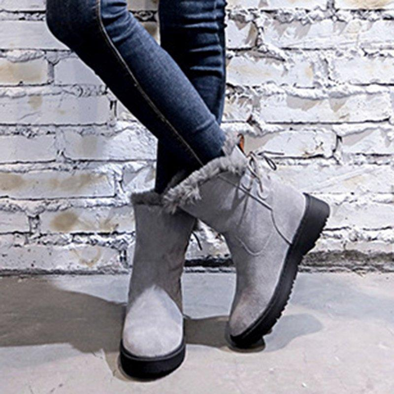 Poptia Casual Bowknot Booties Snow Shoes
