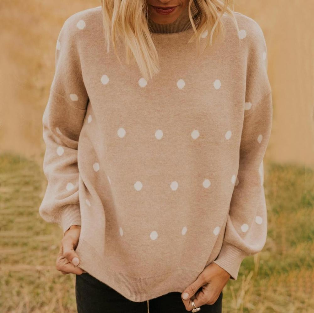 Poptia Khaki Knitted Turtle Neck Polka Dots Long Sleeve Sweater