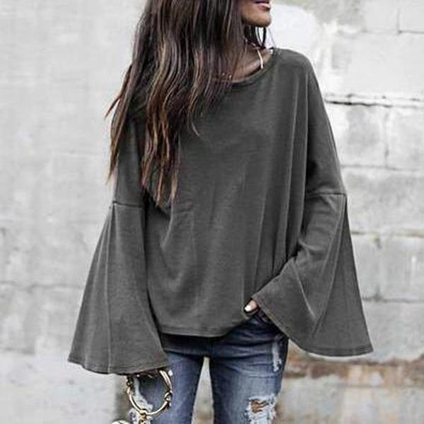 Loose Sweet Bell Sleeve Smock Plain Tee