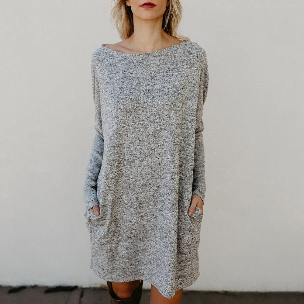 Poptia Round Neck Long Sleeve Mini Dress