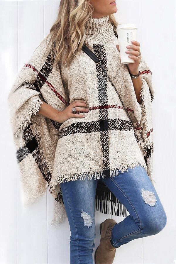 Poptia Plaid Printed Turtleneck Tassel Sweater Cape