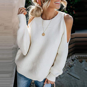 Poptia Plus Size Casual Cold Shoulder Sweater
