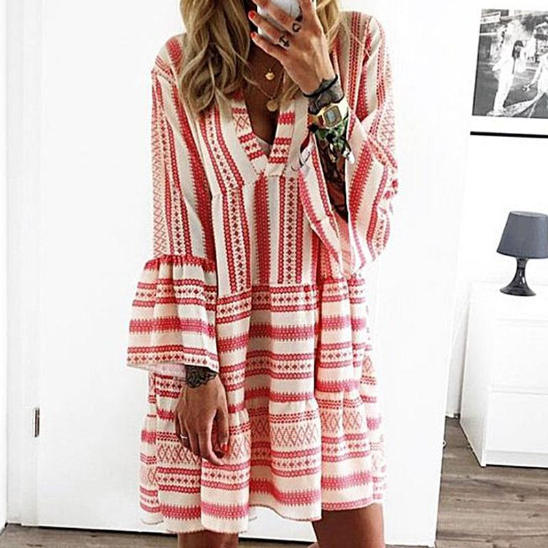 Poptia Fashion Deep V-Neck Bell Sleeve Color Striped Dress