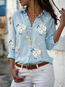 Poptia Floral Print Fashion V-Neck Blouse