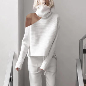 Poptia White High Neck Strapless Fashion Sweater