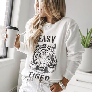 Poptia Casual Animal Print Long Sleeve Sweatshirt