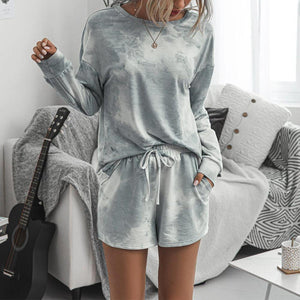 Poptia Casual Grey Round Neck Loose Top And Drawstring Lounge Shorts Set
