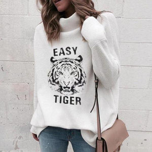 Poptia White Tiger Print Long Sleeve Tee