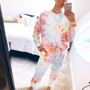 Poptia Fashion Lace-Up Tie-Dye Long Sleeve Two Piece Set