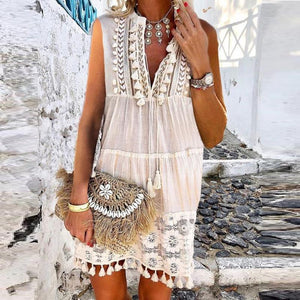 Poptia Fashion Inwrought Tassel V-Neck Jumper Vacation Casual Mini Dress