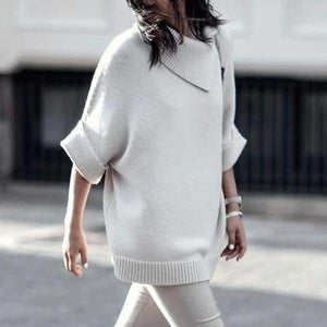 Simple Half Sleeve Collar Sweater