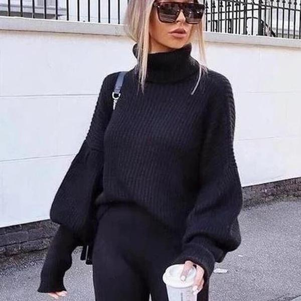 Poptia Black High Neck Long Balloon Sleeve Sweater