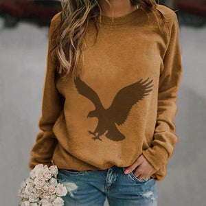 Poptia Round Neck Long Sleeve Animal Print Sweatshirt