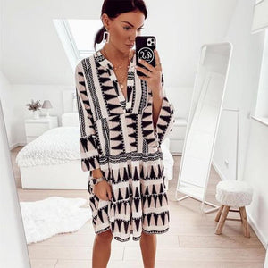 Poptia Set Things in Motion Printed Dress
